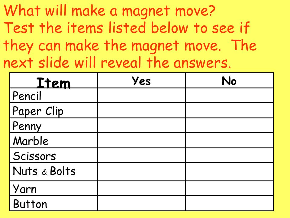 What will make a magnet move.