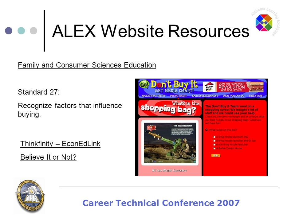 Career Technical Conference 2007 ALEX Website Resources Standard 27: Recognize factors that influence buying.