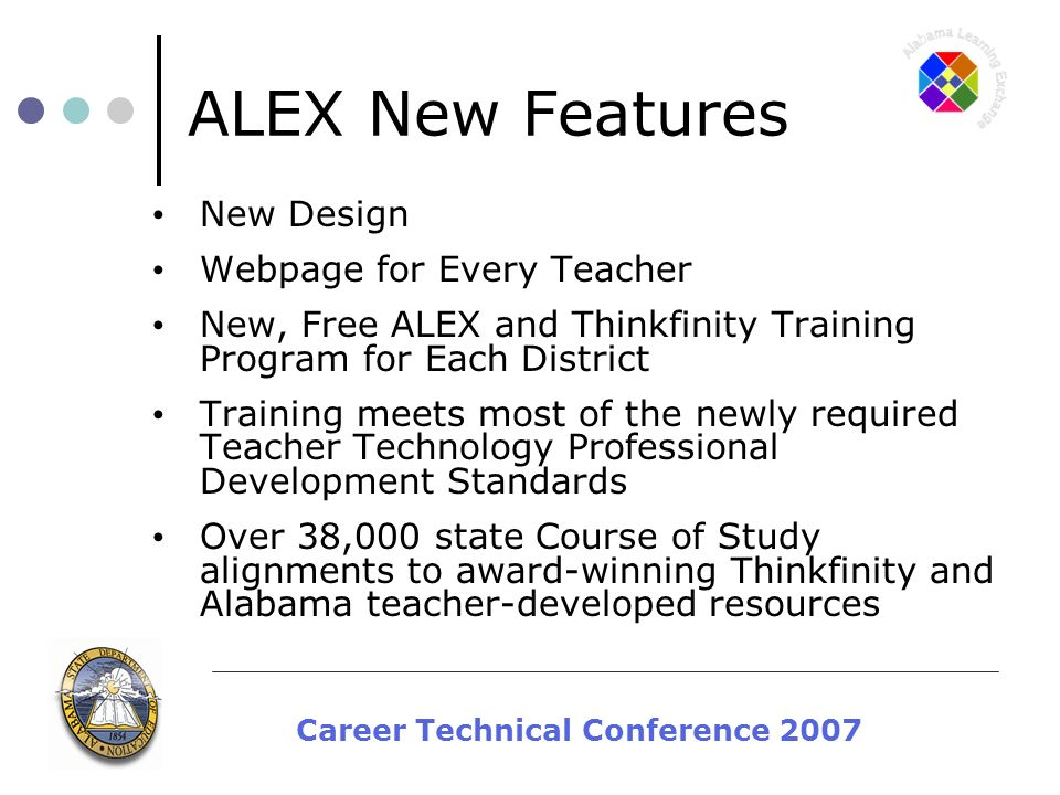 Career Technical Conference 2007 ALEX New Features New Design Webpage for Every Teacher New, Free ALEX and Thinkfinity Training Program for Each District Training meets most of the newly required Teacher Technology Professional Development Standards Over 38,000 state Course of Study alignments to award-winning Thinkfinity and Alabama teacher-developed resources