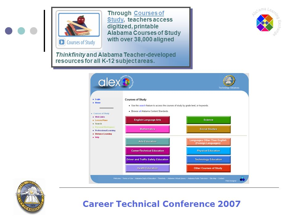 Career Technical Conference 2007 Through Courses of Study, teachers access digitized, printable Alabama Courses of Study with over 38,000 aligned Thinkfinity and Alabama Teacher-developed resources for all K-12 subject areas.