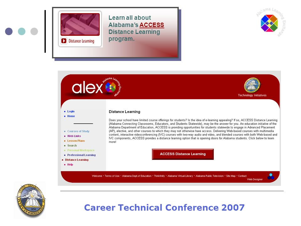 Career Technical Conference 2007 Learn all about Alabamas ACCESS Distance Learning program.
