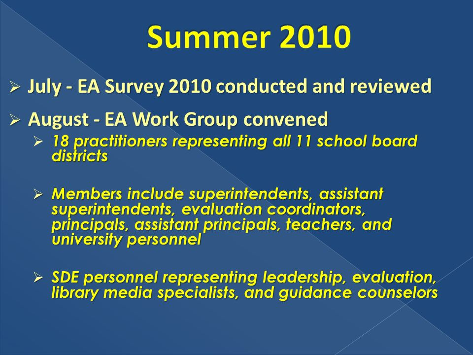 July - EA Survey 2010 conducted and reviewed July - EA Survey 2010 conducted and reviewed August - EA Work Group convened August - EA Work Group convened 18 practitioners representing all 11 school board districts Members include superintendents, assistant superintendents, evaluation coordinators, principals, assistant principals, teachers, and university personnel Members include superintendents, assistant superintendents, evaluation coordinators, principals, assistant principals, teachers, and university personnel SDE personnel representing leadership, evaluation, library media specialists, and guidance counselors SDE personnel representing leadership, evaluation, library media specialists, and guidance counselors