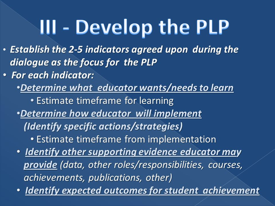 Establish the 2-5 indicators agreed upon during the dialogue as the focus for the PLP For each indicator: For each indicator: Determine what educator wants/needs to learn Determine what educator wants/needs to learn Estimate timeframe for learning Estimate timeframe for learning Determine how educator will implement (Identify specific actions/strategies) Determine how educator will implement (Identify specific actions/strategies) Estimate timeframe from implementation Estimate timeframe from implementation Identify other supporting evidence educator may provide (data, other roles/responsibilities, courses, achievements, publications, other) Identify other supporting evidence educator may provide (data, other roles/responsibilities, courses, achievements, publications, other) Identify expected outcomes for student achievement Identify expected outcomes for student achievement