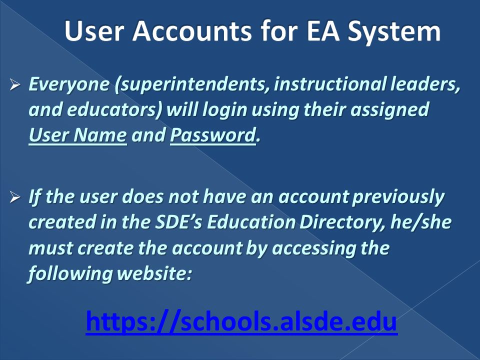 Everyone (superintendents, instructional leaders, and educators) will login using their assigned User Name and Password.