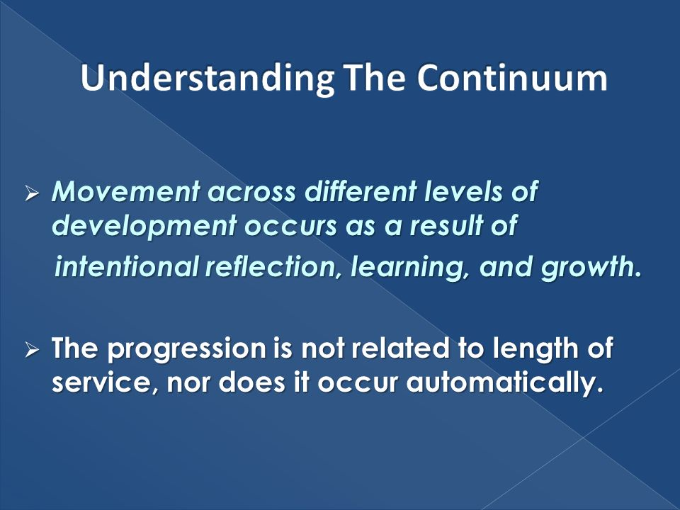 Movement across different levels of development occurs as a result of Movement across different levels of development occurs as a result of intentional reflection, learning, and growth.
