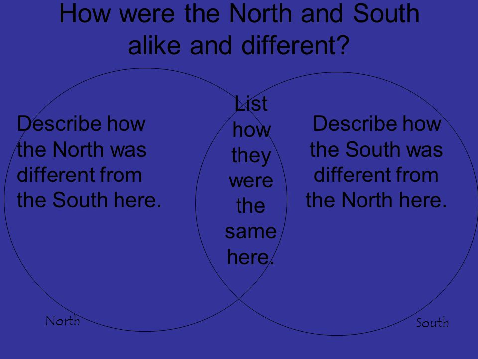 How were the North and South alike and different.