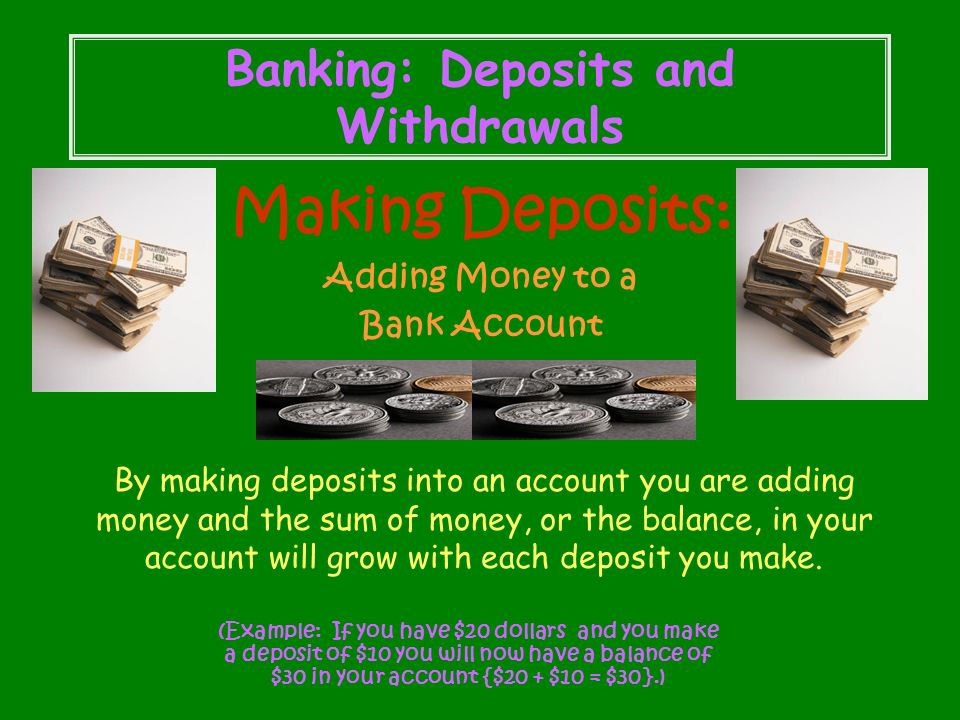 Money & Banking Terms Saving money equals Addition Deposits Spending money equals Subtraction Withdrawals