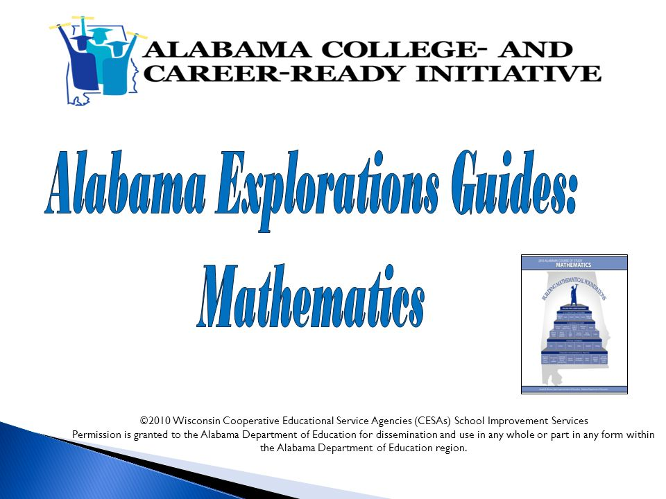 © 2010 Wisconsin Cooperative Educational Service Agencies (CESAs) School Improvement Services Permission is granted to the Alabama Department of Education for dissemination and use in any whole or part in any form within the Alabama Department of Education region.