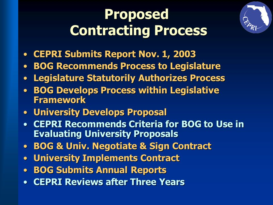 Proposed Contracting Process CEPRI Submits Report Nov.
