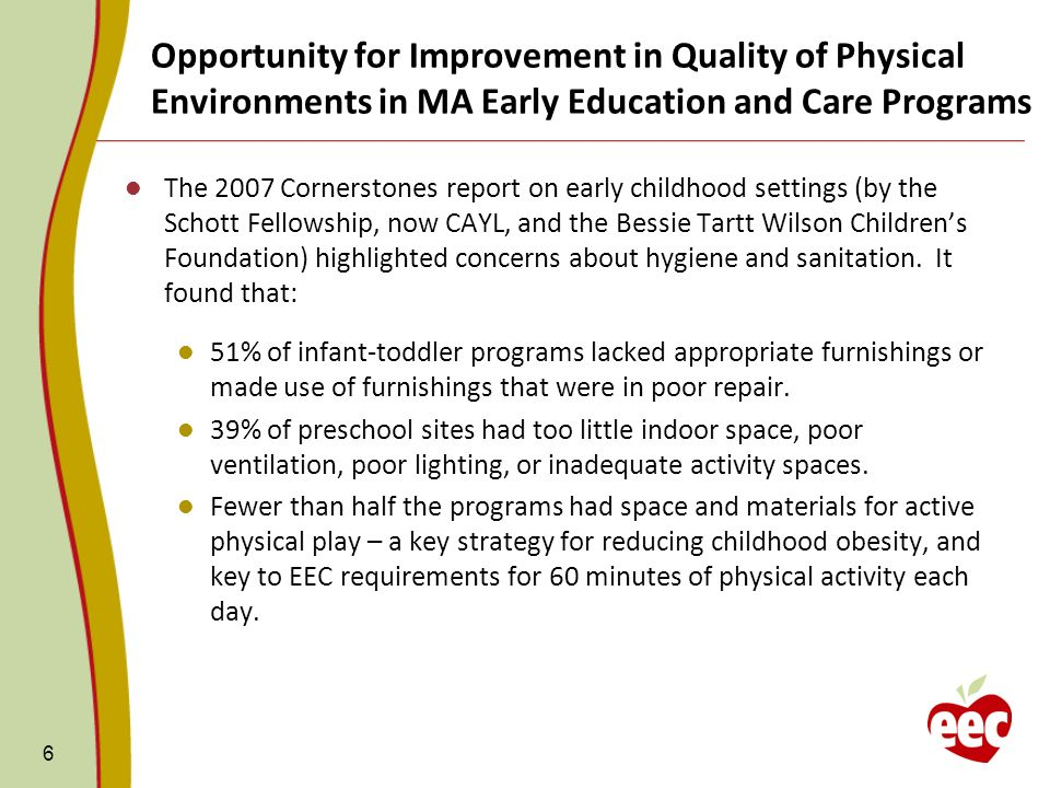 6 The 2007 Cornerstones report on early childhood settings (by the Schott Fellowship, now CAYL, and the Bessie Tartt Wilson Childrens Foundation) highlighted concerns about hygiene and sanitation.