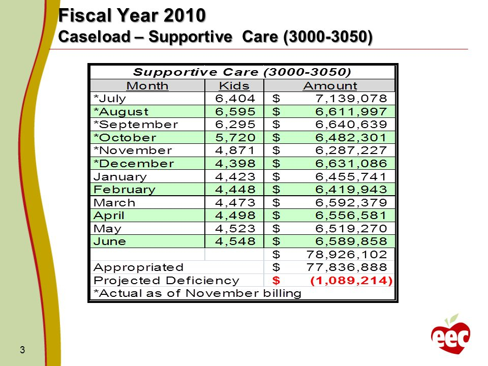 3 Fiscal Year 2010 Caseload – Supportive Care ( )