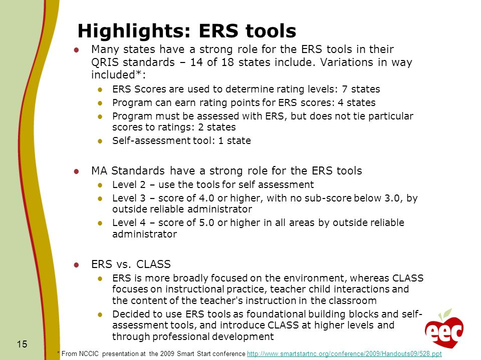 Highlights: ERS tools Many states have a strong role for the ERS tools in their QRIS standards – 14 of 18 states include.
