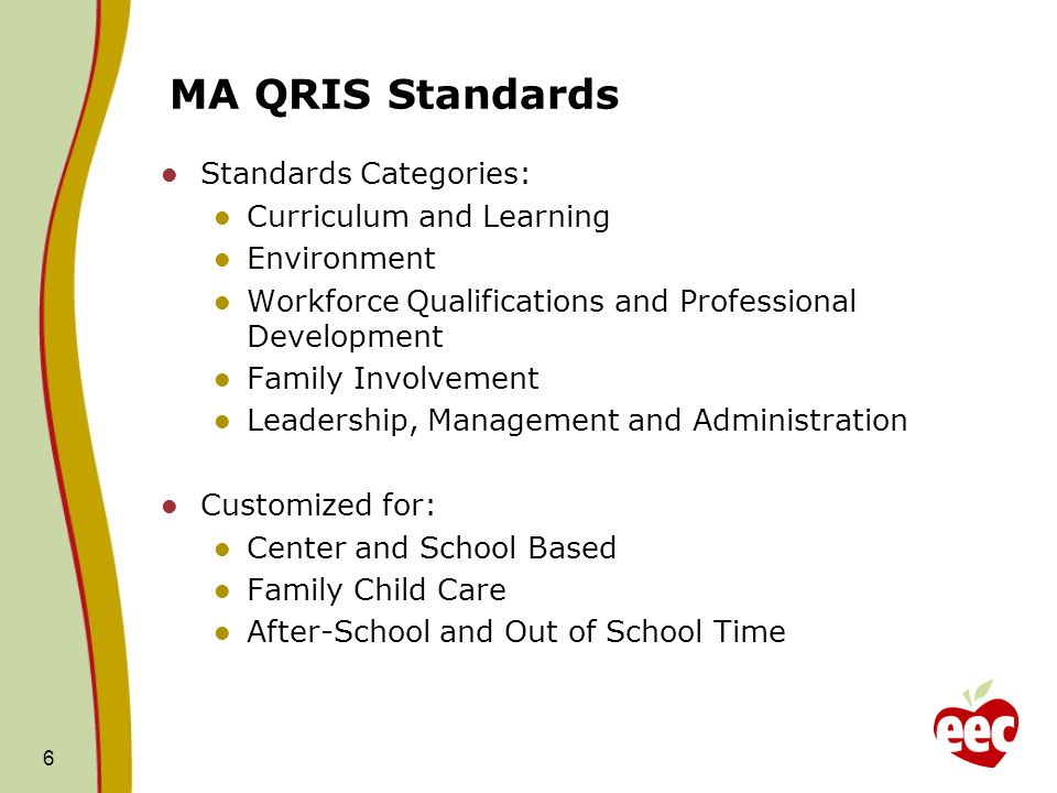 MA QRIS Standards Standards Categories: Curriculum and Learning Environment Workforce Qualifications and Professional Development Family Involvement Leadership, Management and Administration Customized for: Center and School Based Family Child Care After-School and Out of School Time 6