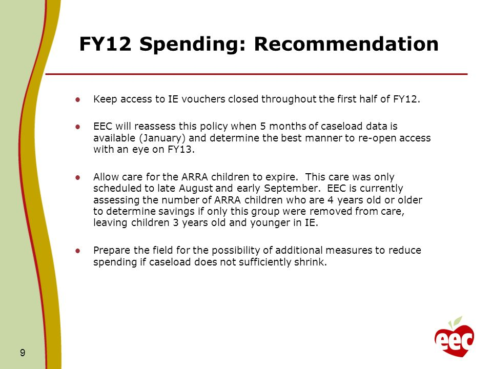 FY12 Spending: Recommendation Keep access to IE vouchers closed throughout the first half of FY12.