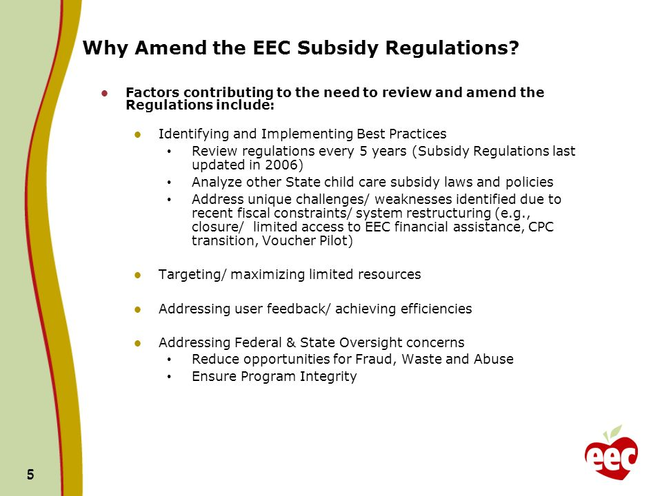 5 5 Why Amend the EEC Subsidy Regulations.