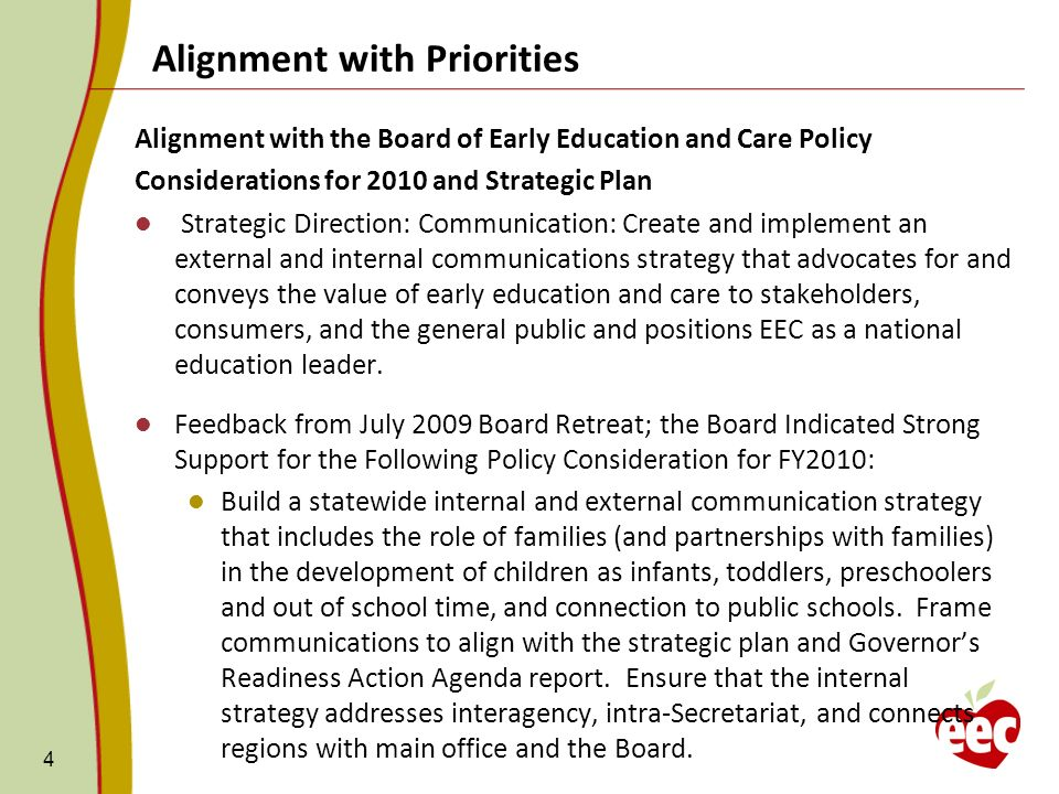 Alignment with Priorities 4 Alignment with the Board of Early Education and Care Policy Considerations for 2010 and Strategic Plan Strategic Direction: Communication: Create and implement an external and internal communications strategy that advocates for and conveys the value of early education and care to stakeholders, consumers, and the general public and positions EEC as a national education leader.