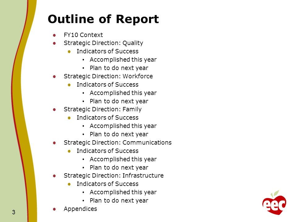 Outline of Report FY10 Context Strategic Direction: Quality Indicators of Success Accomplished this year Plan to do next year Strategic Direction: Workforce Indicators of Success Accomplished this year Plan to do next year Strategic Direction: Family Indicators of Success Accomplished this year Plan to do next year Strategic Direction: Communications Indicators of Success Accomplished this year Plan to do next year Strategic Direction: Infrastructure Indicators of Success Accomplished this year Plan to do next year Appendices 3