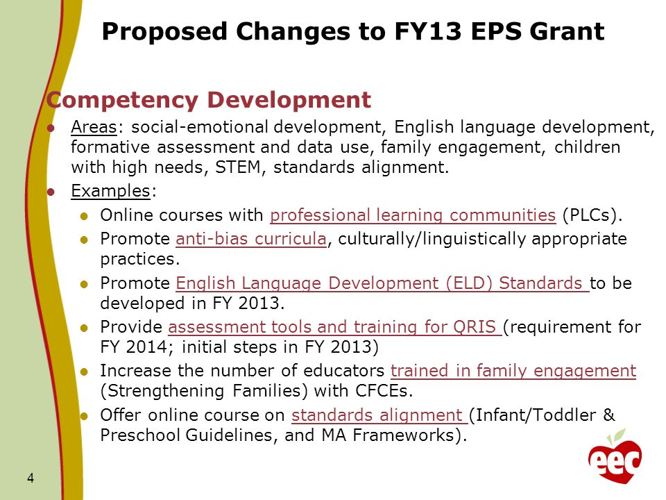 Proposed Changes to FY13 EPS Grant Competency Development Areas: social-emotional development, English language development, formative assessment and data use, family engagement, children with high needs, STEM, standards alignment.