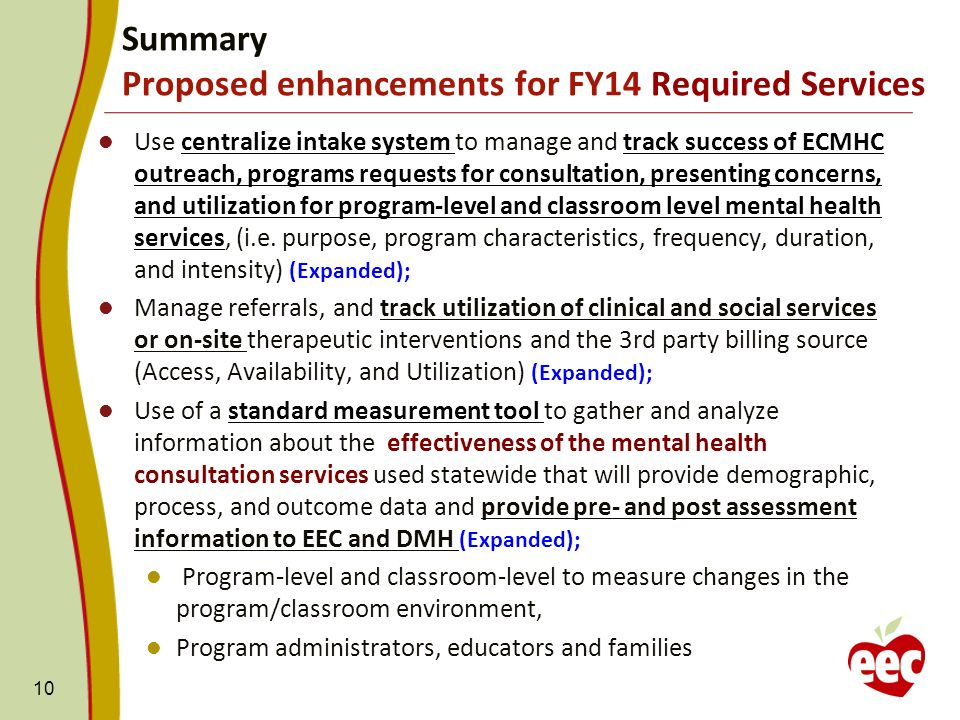 Use centralize intake system to manage and track success of ECMHC outreach, programs requests for consultation, presenting concerns, and utilization for program-level and classroom level mental health services, (i.e.