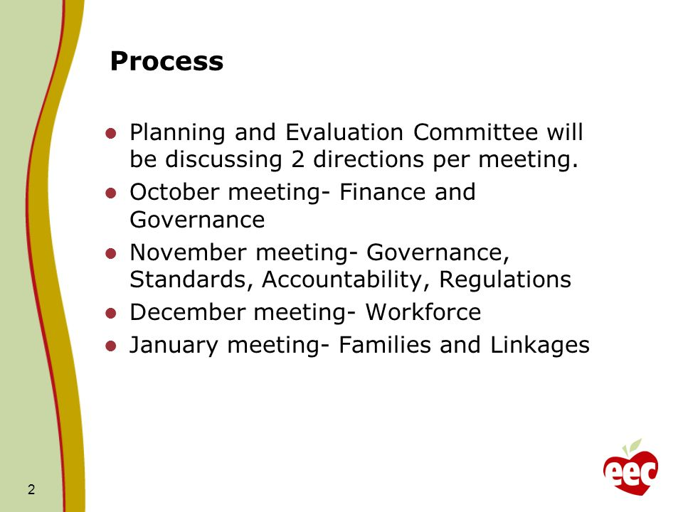 2 Process Planning and Evaluation Committee will be discussing 2 directions per meeting.
