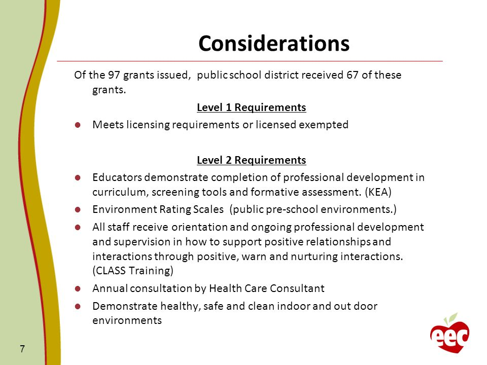 Considerations Of the 97 grants issued, public school district received 67 of these grants.