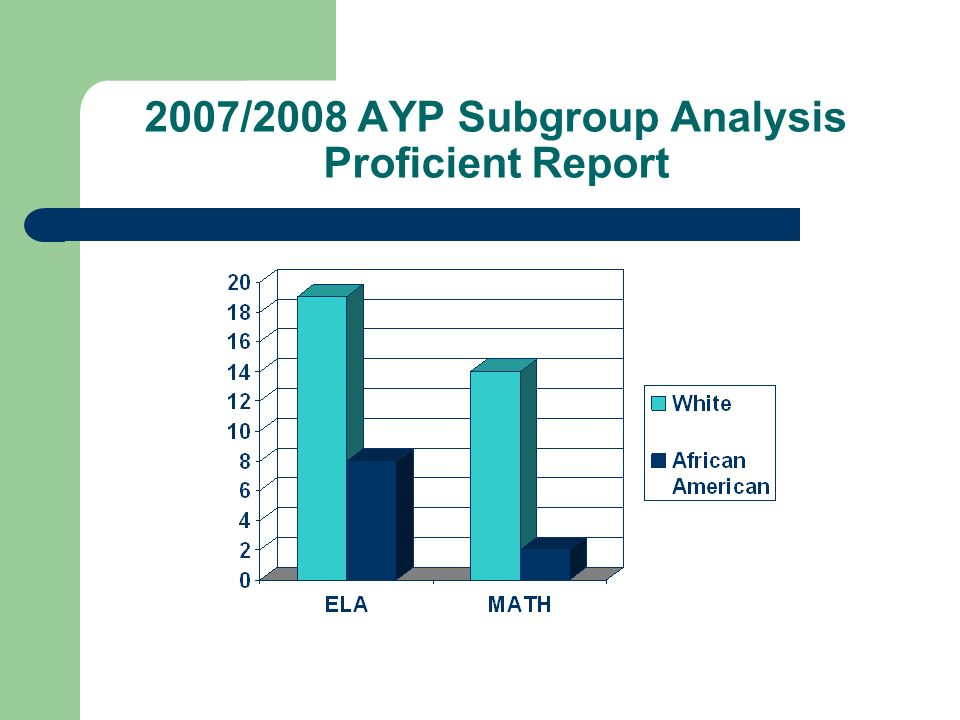 2007/2008 AYP Subgroup Analysis Proficient Report