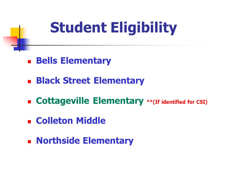 Student Eligibility Bells Elementary Black Street Elementary Cottageville Elementary **(If identified for CSI) Colleton Middle Northside Elementary