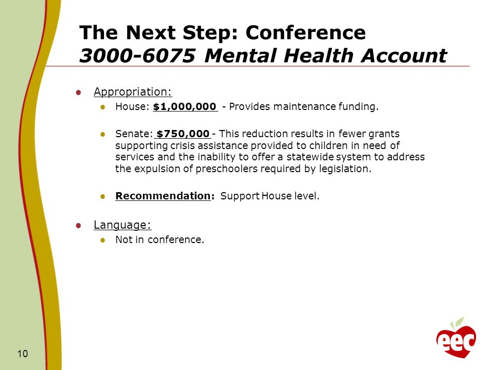 The Next Step: Conference 3000-6075 Mental Health Account Appropriation: House: $1,000,000 - Provides maintenance funding.