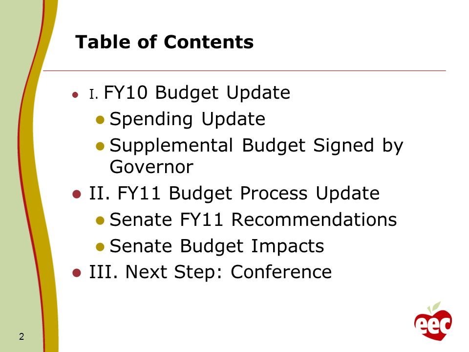 Table of Contents I. FY10 Budget Update Spending Update Supplemental Budget Signed by Governor II.