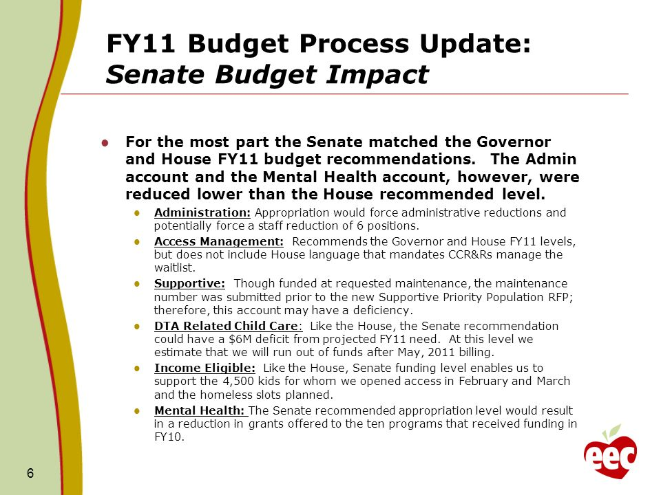 FY11 Budget Process Update: Senate Budget Impact For the most part the Senate matched the Governor and House FY11 budget recommendations.
