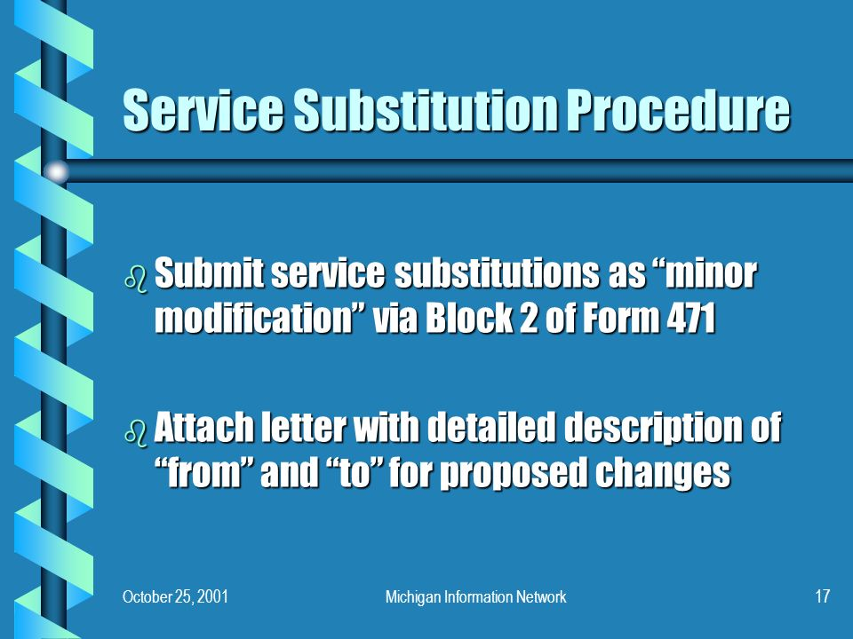 October 25, 2001Michigan Information Network17 Service Substitution Procedure b Submit service substitutions as minor modification via Block 2 of Form 471 b Attach letter with detailed description of from and to for proposed changes