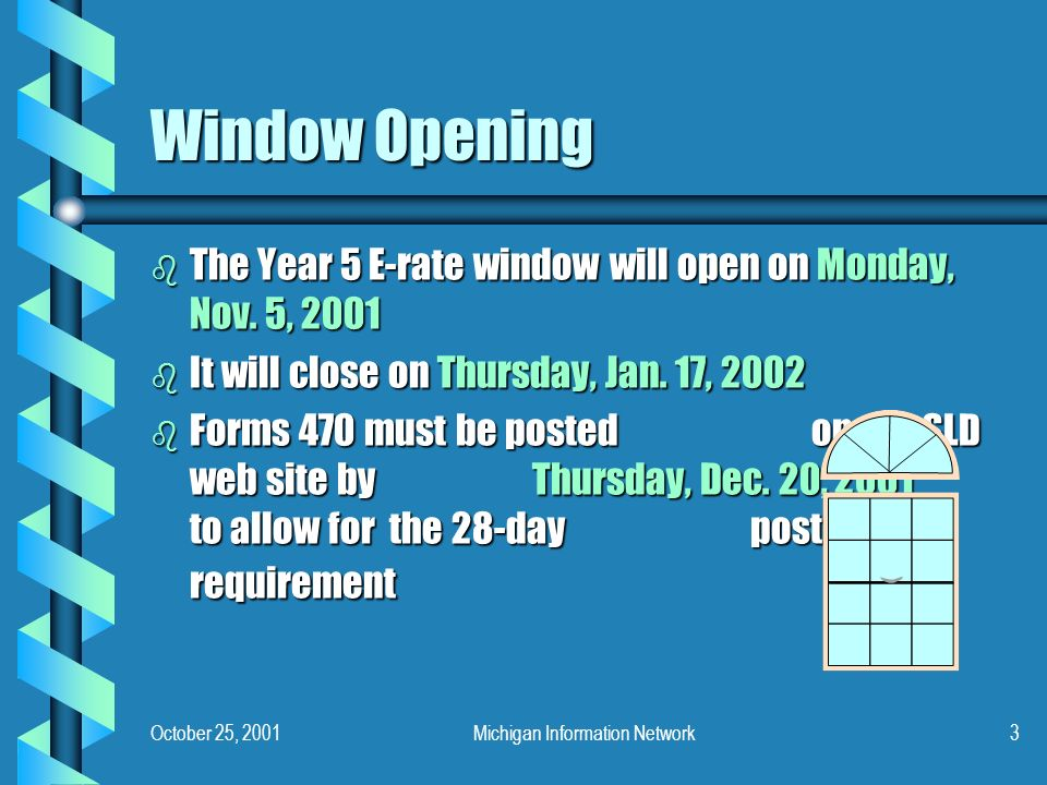 October 25, 2001Michigan Information Network3 Window Opening b The Year 5 E-rate window will open on Monday, Nov.