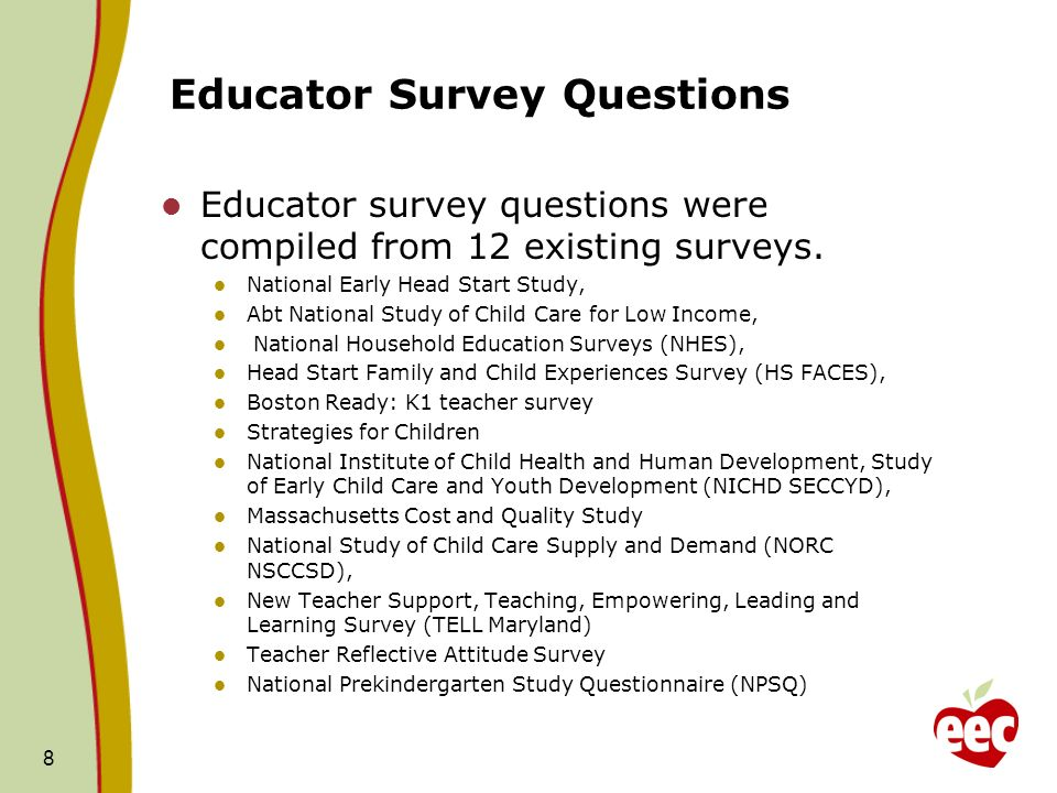Educator Survey Questions Educator survey questions were compiled from 12 existing surveys.