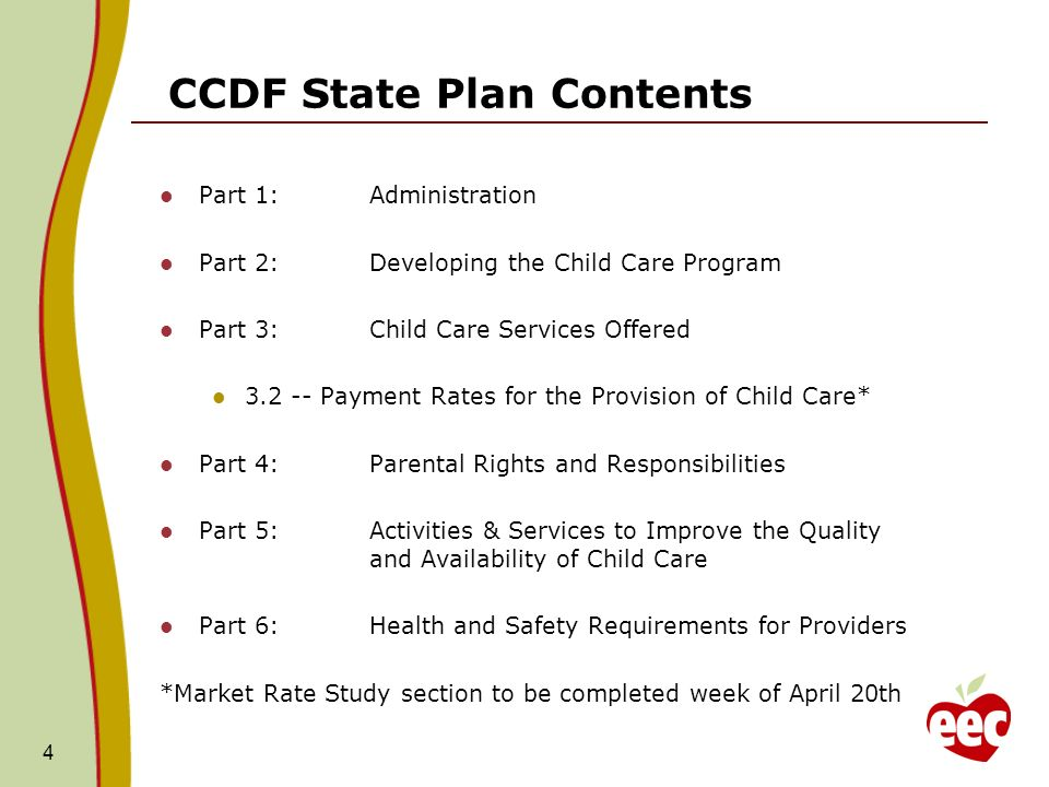 CCDF State Plan Contents Part 1:Administration Part 2:Developing the Child Care Program Part 3:Child Care Services Offered Payment Rates for the Provision of Child Care* Part 4:Parental Rights and Responsibilities Part 5:Activities & Services to Improve the Quality and Availability of Child Care Part 6:Health and Safety Requirements for Providers *Market Rate Study section to be completed week of April 20th 4