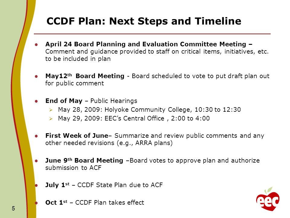 5 CCDF Plan: Next Steps and Timeline April 24 Board Planning and Evaluation Committee Meeting – Comment and guidance provided to staff on critical items, initiatives, etc.