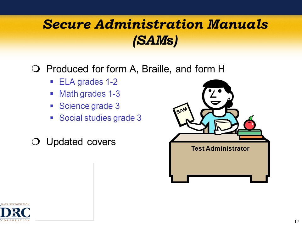 17 Secure Administration Manuals (SAM s ) Produced for form A, Braille, and form H ELA grades 1-2 Math grades 1-3 Science grade 3 Social studies grade 3 Updated covers SAM Test Administrator