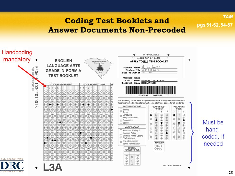 28 Coding Test Booklets and Answer Documents Non-Precoded Must be hand- coded, if needed TAM pgs 51-52, 54-57 Handcoding mandatory