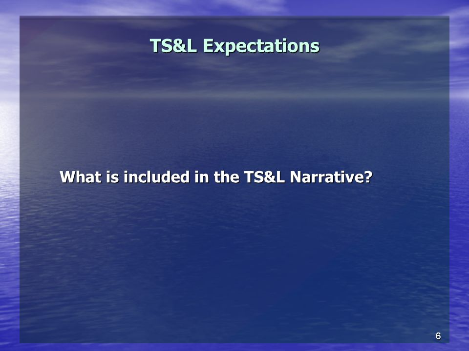 6 TS&L Expectations What is included in the TS&L Narrative