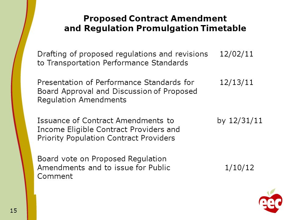 Proposed Contract Amendment and Regulation Promulgation Timetable 15 Drafting of proposed regulations and revisions to Transportation Performance Standards 12/02/11 Presentation of Performance Standards for Board Approval and Discussion of Proposed Regulation Amendments 12/13/11 Issuance of Contract Amendments to Income Eligible Contract Providers and Priority Population Contract Providers by 12/31/11 Board vote on Proposed Regulation Amendments and to issue for Public Comment 1/10/12
