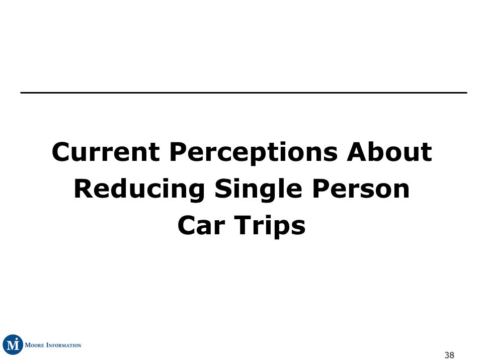 38 Current Perceptions About Reducing Single Person Car Trips