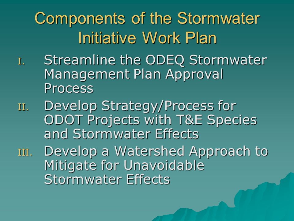 Components of the Stormwater Initiative Work Plan I.