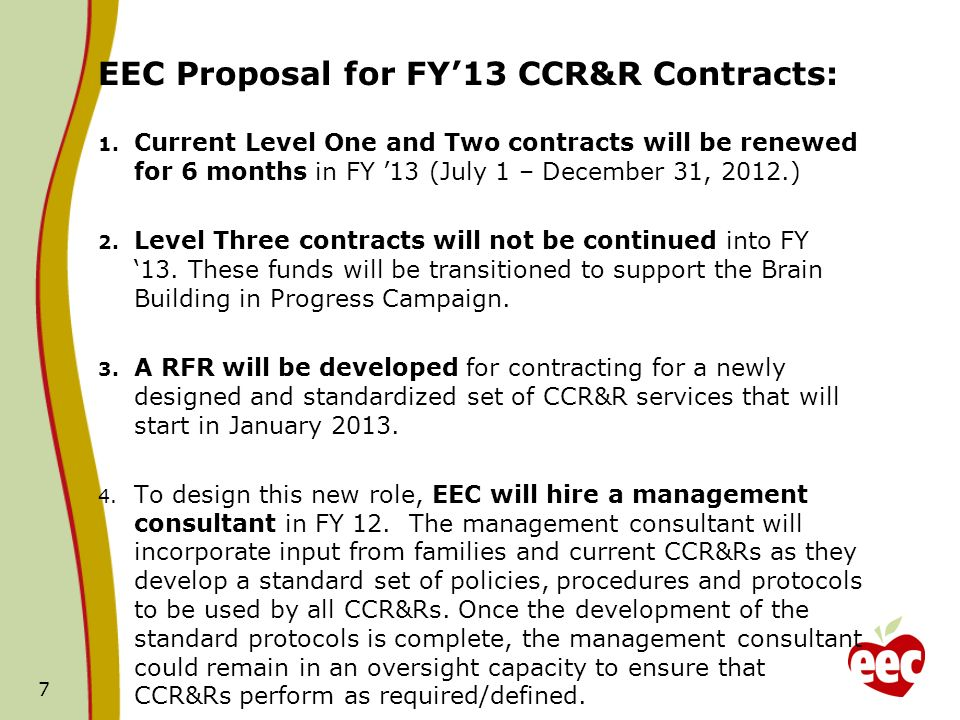 EEC Proposal for FY13 CCR&R Contracts: 1.