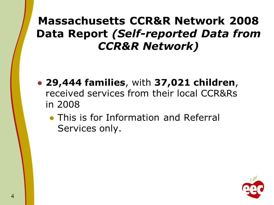29,444 families, with 37,021 children, received services from their local CCR&Rs in 2008 This is for Information and Referral Services only.
