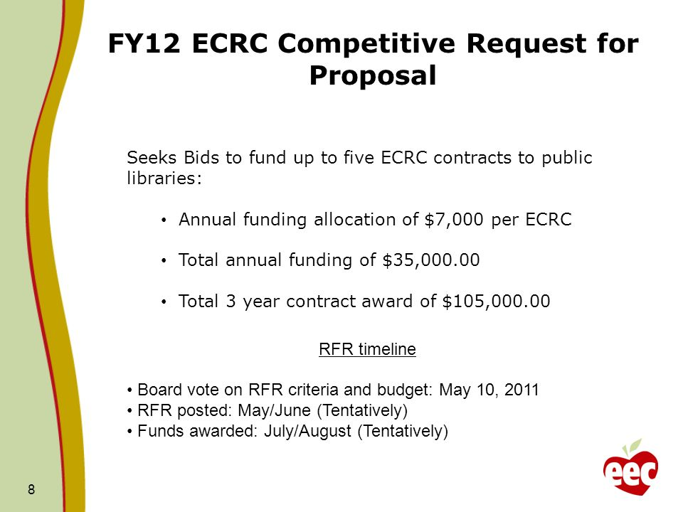 8 FY12 ECRC Competitive Request for Proposal Seeks Bids to fund up to five ECRC contracts to public libraries: Annual funding allocation of $7,000 per ECRC Total annual funding of $35, Total 3 year contract award of $105, RFR timeline Board vote on RFR criteria and budget: May 10, 2011 RFR posted: May/June (Tentatively) Funds awarded: July/August (Tentatively)