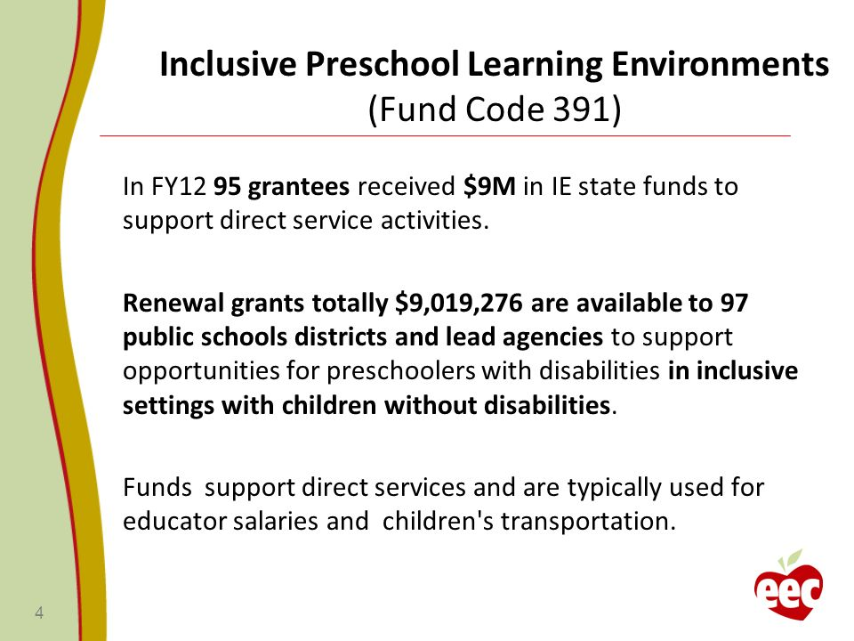 In FY12 95 grantees received $9M in IE state funds to support direct service activities.