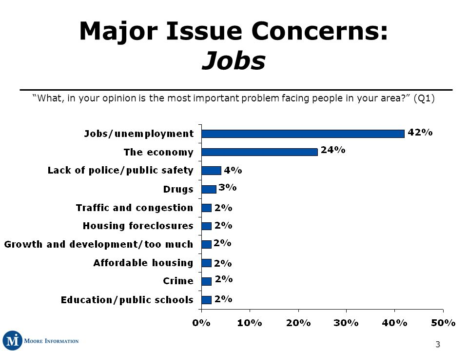 3 Major Issue Concerns: Jobs What, in your opinion is the most important problem facing people in your area.