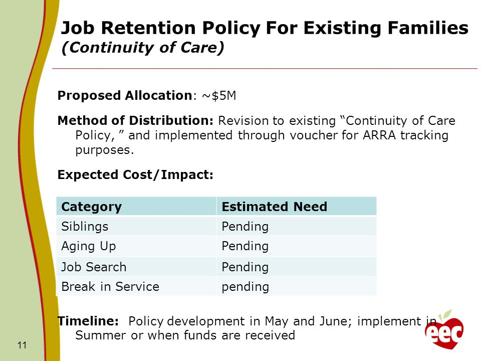 Job Retention Policy For Existing Families (Continuity of Care) Proposed Allocation: ~$5M Method of Distribution: Revision to existing Continuity of Care Policy, and implemented through voucher for ARRA tracking purposes.