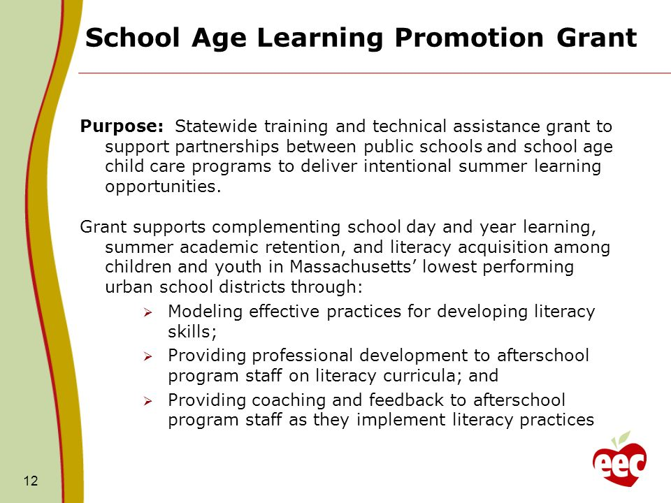 School Age Learning Promotion Grant Purpose: Statewide training and technical assistance grant to support partnerships between public schools and school age child care programs to deliver intentional summer learning opportunities.