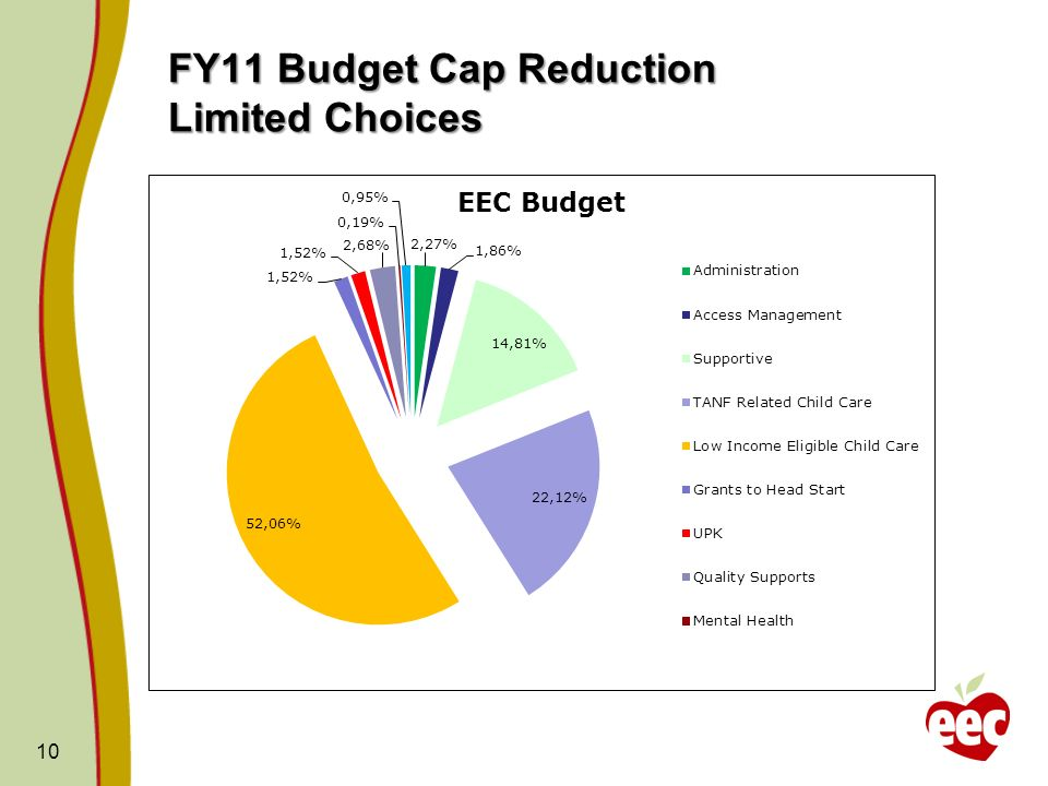 FY11 Budget Cap Reduction Limited Choices 10