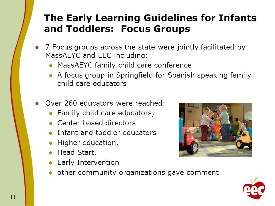The Early Learning Guidelines for Infants and Toddlers: Focus Groups 7 Focus groups across the state were jointly facilitated by MassAEYC and EEC including: MassAEYC family child care conference A focus group in Springfield for Spanish speaking family child care educators Over 260 educators were reached: Family child care educators, Center based directors Infant and toddler educators Higher education, Head Start, Early Intervention other community organizations gave comment 11